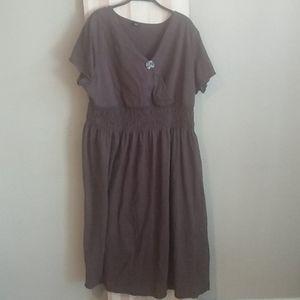 Cross top elastic waist t-shirt dress 2x